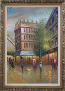 Romantic Parisian Street Scene At Dusk In 19th Century Oil Painting Cityscape France Impressionism Ornate Antique Dark Gold Wood Frame 42 x 30 inches