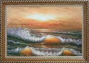Waves Hit Rocks On Seashore in Sunset Glow Oil Painting Seascape Naturalism Exquisite Gold Wood Frame 30 x 42 inches