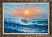 Beautiful View of the Ocean from the Shore in New Dawn Oil Painting Seascape Naturalism Ornate Antique Dark Gold Wood Frame 30 x 42 inches