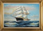 Three-Masted Full-Rigged Sailing Ship on Sea Oil Painting Boat Classic Gold Wood Frame with Deco Corners 31 x 43 inches