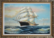 Three-Masted Full-Rigged Sailing Ship on Sea Oil Painting  Ornate Antique Dark Gold Wood Frame 30