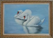 Two Lovely White Swans in Lake Oil Painting Animal Naturalism Exquisite Gold Wood Frame 30 x 42 inches