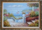 Gorgeous Italy Seashore Garden Patio Oil Painting Mediterranean Naturalism Ornate Antique Dark Gold Wood Frame 30 x 42 inches