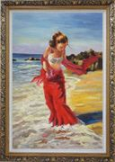 Girl With Long Red Skirt Enjoy Herself in Beach Water Oil Painting Portraits Woman Impressionism Ornate Antique Dark Gold Wood Frame 42 x 30 inches