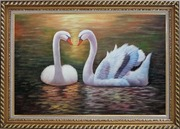Pair Of Beautiful Swans Enjoying Their Time On Lake Oil Painting Animal Naturalism Exquisite Gold Wood Frame 30 x 42 inches