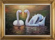 Pair Of Beautiful Swans Enjoying Their Time On Lake Oil Painting Animal Naturalism Gold Wood Frame with Deco Corners 31 x 43 inches