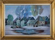 A Remote Hamlet Oil Painting Village Impressionism Gold Wood Frame with Deco Corners 31 x 43 inches