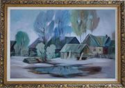 A Remote Hamlet Oil Painting Village Impressionism Ornate Antique Dark Gold Wood Frame 30 x 42 inches