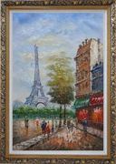 Dreaming of Paris Oil Painting Cityscape France Impressionism Ornate Antique Dark Gold Wood Frame 42 x 30 inches
