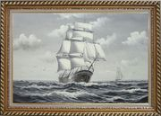 Black White Big Fully Rigged Masted Ship Sailing on the Ocean Oil Painting Boat Classic Exquisite Gold Wood Frame 30 x 42 inches