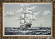 Black White Big Fully Rigged Masted Ship Sailing on the Ocean Oil Painting Boat Classic Ornate Antique Dark Gold Wood Frame 30 x 42 inches