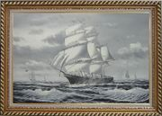Black White Three-Masted Full-Rigged Sailing Ship on Sea Oil Painting Boat Classic Exquisite Gold Wood Frame 30 x 42 inches
