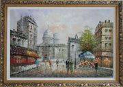 People Walk on Paris Street Oil Painting Cityscape France Impressionism Ornate Antique Dark Gold Wood Frame 30 x 42 inches