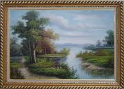 Riverside Landscape Scene Oil Painting Classic Exquisite Gold Wood Frame 30 x 42 inches