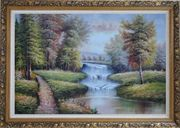 Trail, Yellow Trees, Waterfall in Autumn Oil Painting Landscape Classic Ornate Antique Dark Gold Wood Frame 30 x 42 inches