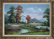 Small Creek In Front of Village Oil Painting Landscape River Classic Ornate Antique Dark Gold Wood Frame 30 x 42 inches