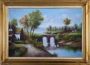Small River Bridge in Front of Cottage Oil Painting Landscape Classic Gold Wood Frame with Deco Corners 31 x 43 inches
