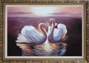 Two White Swans Enjoying Times On Golden Lake Oil Painting Animal Naturalism Ornate Antique Dark Gold Wood Frame 30 x 42 inches