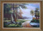 Along a Muddy Path Oil Painting Landscape River Classic Exquisite Gold Wood Frame 30 x 42 inches