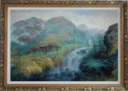 Waterfall Rushing Down Green Covered Mountain Oil Painting Landscape Classic Ornate Antique Dark Gold Wood Frame 30 x 42 inches