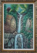Endless Song Oil Painting Landscape Waterfall Classic Ornate Antique Dark Gold Wood Frame 42 x 30 inches