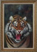 A Powerful Roaring Tiger Oil Painting Animal Classic Exquisite Gold Wood Frame 42 x 30 inches