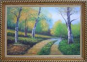 Two Turbid Flows Passing Forest in Early Summer Oil Painting Landscape Tree Naturalism Exquisite Gold Wood Frame 30 x 42 inches