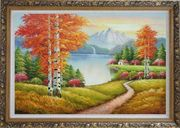 Lake Autumn Trees and Alaska Snow-Covered Range Oil Painting Landscape Naturalism Ornate Antique Dark Gold Wood Frame 30 x 42 inches