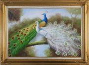 Green and White Peacocks On Branch Oil Painting Animal Naturalism Gold Wood Frame with Deco Corners 31 x 43 inches