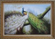 Pair of Green And White Peacocks On Tree Oil Painting Animal Naturalism Exquisite Gold Wood Frame 30 x 42 inches