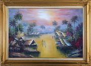 Hawaii Water Village Thatching Houses at Sunset Oil Painting Naturalism Gold Wood Frame with Deco Corners 31 x 43 inches