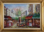 Colorful Cafe and Street Scene in Paris Oil Painting Cityscape France Impressionism Gold Wood Frame with Deco Corners 31 x 43 inches