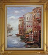 Boats Parking At Tranquil Street of Venice Oil Painting Italy Impressionism Gold Wood Frame with Deco Corners 31 x 27 inches