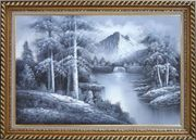 Black and White Small Waterfall in a Quiet Landscape Oil Painting Naturalism Exquisite Gold Wood Frame 30 x 42 inches