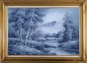 Cascade Under Snow Mountain in Black and White Oil Painting Landscape Waterfall Naturalism Gold Wood Frame with Deco Corners 31 x 43 inches