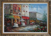 Bistro on Paris Street Oil Painting Cityscape France Impressionism Ornate Antique Dark Gold Wood Frame 30 x 42 inches