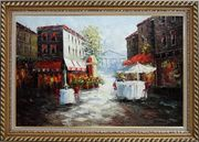 Outdoor Street Cafe on Paris Street Oil Painting Cityscape France Impressionism Exquisite Gold Wood Frame 30 x 42 inches