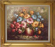 Knife Painted Still Life Standard Mum Flowers Oil Painting Bouquet Impressionism Gold Wood Frame with Deco Corners 27 x 31 inches