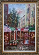 Traditional Paris Street Filled with Cafe and Hotel Oil Painting Cityscape France Impressionism Ornate Antique Dark Gold Wood Frame 42 x 30 inches