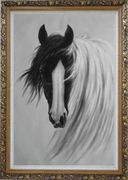 Gorgeous Black White Horse With Long and Flowing White Manes Oil Painting Animal Naturalism Ornate Antique Dark Gold Wood Frame 42 x 30 inches