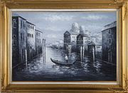 Venice Gondola in Black and White Oil Painting Italy Impressionism Gold Wood Frame with Deco Corners 31 x 43 inches