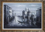 Venice Gondola in Black and White Oil Painting Italy Impressionism Ornate Antique Dark Gold Wood Frame 30 x 42 inches
