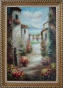 Mediterranean Villa Oil Painting Impressionism Exquisite Gold Wood Frame 42 x 30 inches
