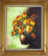 Blooming Roses Bouquet Oil Painting Flower Still Life Impressionism Gold Wood Frame with Deco Corners 31 x 27 inches