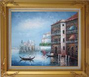 Serenity Venice Harbour Oil Painting Italy Naturalism Gold Wood Frame with Deco Corners 27 x 31 inches