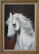White Horse With Long Manes in Brown Background Oil Painting Animal Naturalism Exquisite Gold Wood Frame 42 x 30 inches