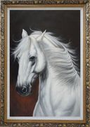 White Horse With Long Manes in Brown Background Oil Painting Animal Naturalism Ornate Antique Dark Gold Wood Frame 42 x 30 inches