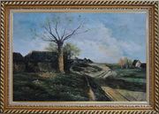 Old Village, Roadside Tree, Rural Path Oil Painting Classic Exquisite Gold Wood Frame 30 x 42 inches