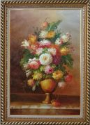 Roses, Tulips, Peony, Marigolds And Other Flowers Oil Painting Still Life Bouquet Classic Exquisite Gold Wood Frame 42 x 30 inches