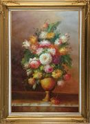 Roses, Tulips, Peony, Marigolds And Other Flowers Oil Painting Still Life Bouquet Classic Gold Wood Frame with Deco Corners 43 x 31 inches